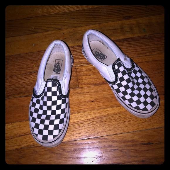 84d09791d8ea17 Vans Old Skool Checkered Slip Ons